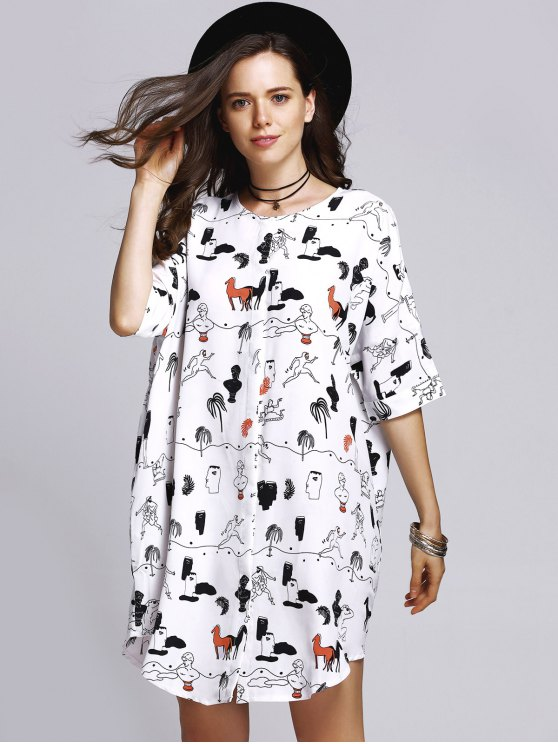 Horse Print Round Neck Half Sleeve Dress - COLORMIX M Mobile