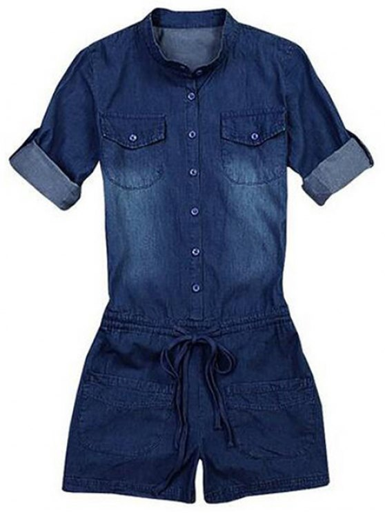 Belted Bleach Wash Jean Romper - BLUE M Mobile