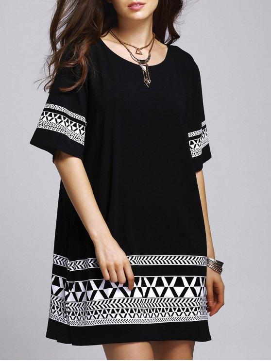 latest Loose Geometric Print Round Neck Short Sleeve Dress - BLACK 5XL