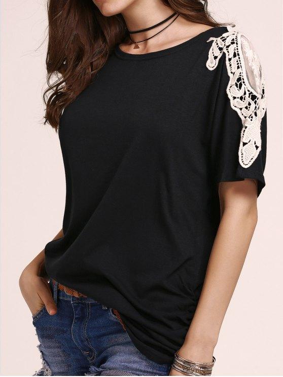 fashion Loose Lace Spliced Round Neck Bat-Wing Sleeve Dress - BLACK 5XL