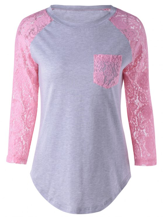 outfits Lace Sleeve Round Neck T-Shirt - PINK + GRAY S