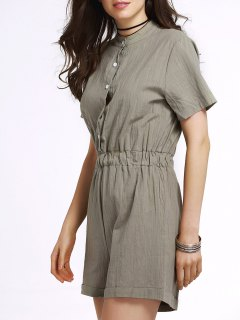 Single-Breasted Solid Color Stand Neck Short Sleeve Romper - Army Green M