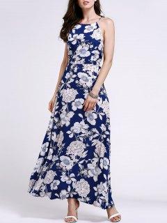 Cut Out Floral Print Jewel Neck Sleeveless Dress - Purplish Blue S