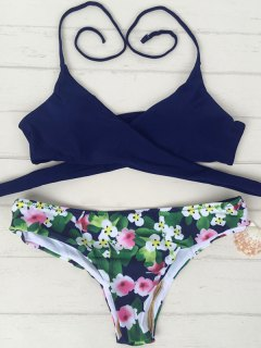 Tiny Floral Print Halter Wrap Bikini Set - Purplish Blue M