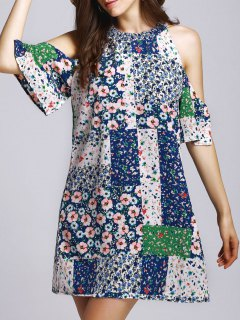 Tiny Floral Round Neck Cut Out Dress - M