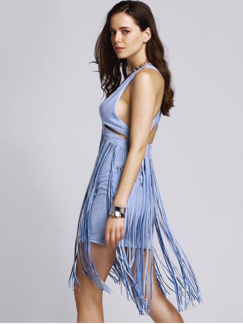 buy Blue Tassels Plunging Neck Sleeveless Dress - BLUE S Mobile