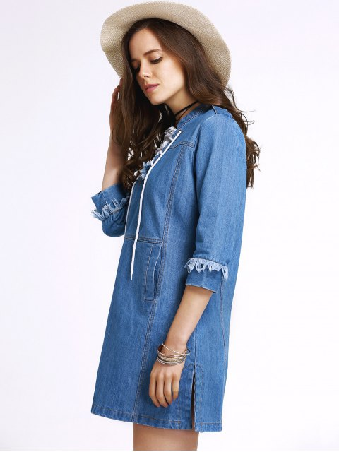 shops Retro Lace-Up Stand Neck 3/4 Sleeve Dress - BLUE M Mobile