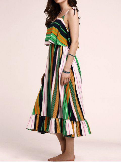 unique Tie-Shoulder Multicolored Overlay Sundress - COLORMIX S Mobile