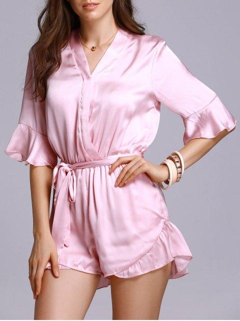 women's Satin V-Neck Flare Sleeve Belted Romper - PINK L Mobile