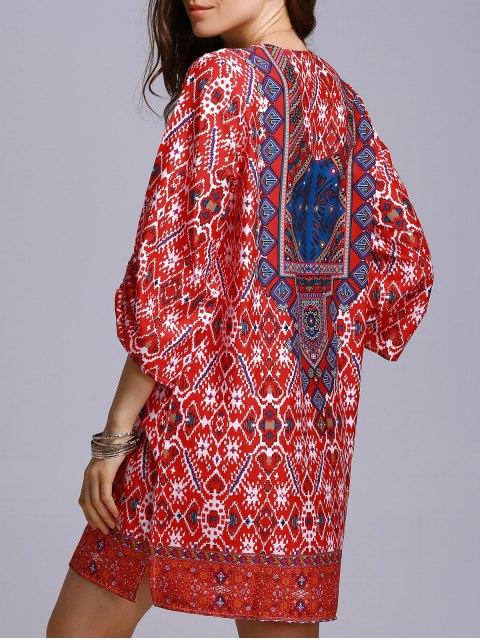 ladies Red Peasant Dress - RED S Mobile