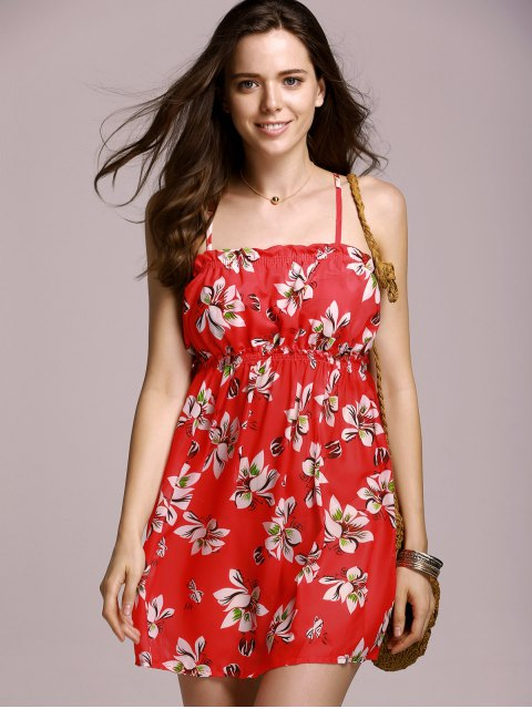 shops Full Tiny Floral Cami Dress - RED M Mobile