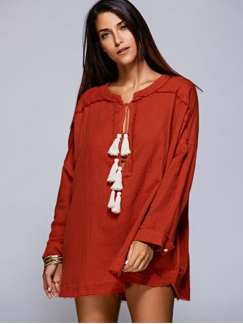online Solid Color Round Neck Long Sleeve Tassels Blouse - JACINTH S Mobile