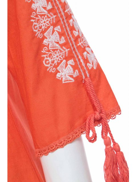 unique Floral Embroidery Plunging Neck 3/4 Sleeve Dress - ORANGE S Mobile