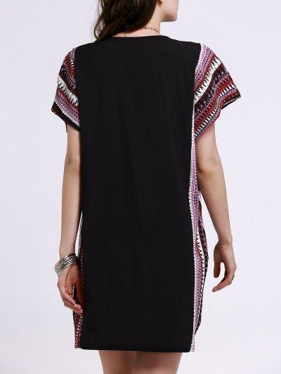 Printed Loose Round Neck Bat-Wing Sleeve Dress от Zaful.com INT