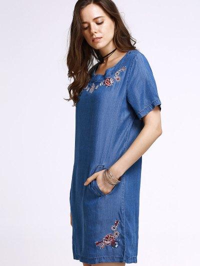 Embroidery Round Neck Short Sleeve Denim Dress от Zaful.com INT