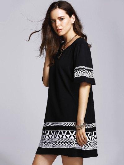 Loose Geometric Print Round Neck Short Sleeve Dress от Zaful.com INT
