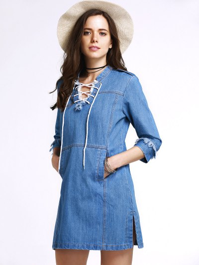 Retro Lace-Up Stand Neck 3/4 Sleeve Dress - BLUE M Mobile