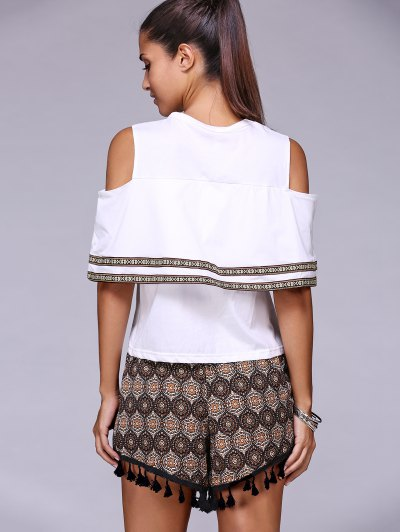 Cold Shoulder Round Neck T-Shirt and Tassels Shorts Twinset - WHITE ONE SIZE(FIT SIZE XS TO M) Mobile