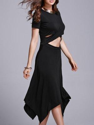 Cut Out Irregular Jewel Neck Short Sleeve Dress - Black