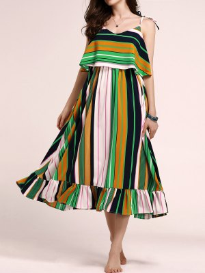 Tie-Shoulder Multicolored Overlay Sundress