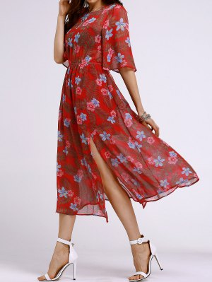 High Waisted Round Neck Tiny Floral Print Dress - Orange Red