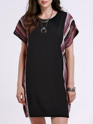 Printed Loose Round Neck Bat-Wing Sleeve Dress - Black