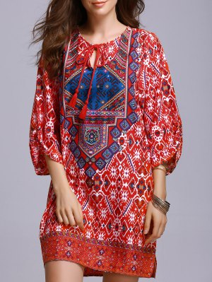 Red Peasant Dress - Red