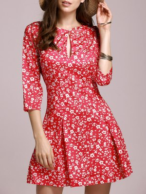 Tiny Floral Keyhole Neckline Dress - Red