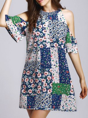 Tiny Floral Round Neck Cut Out Dress