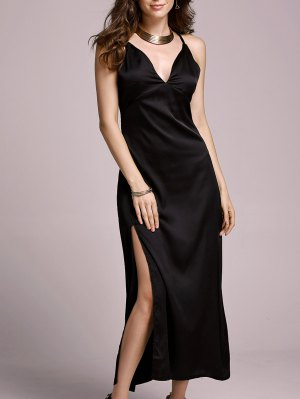 High Slit Spaghetti Straps Solid Color Dress - Black