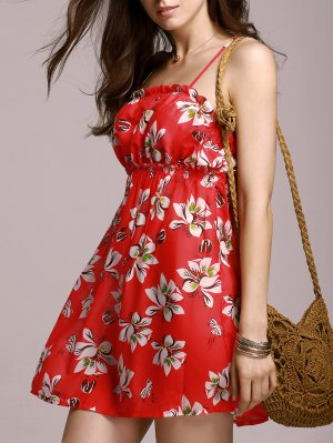 Full Tiny Floral Cami Dress - Red