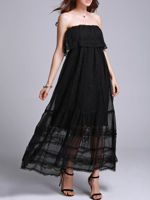 Embroidery Strapless Prom Dress - Black