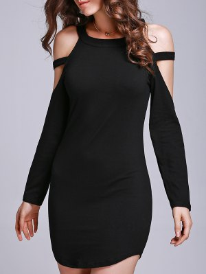 Black Hollow Round Collar Long Sleeve Dress - Black