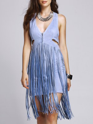 Blue Tassels Plunging Neck Sleeveless Dress - Blue