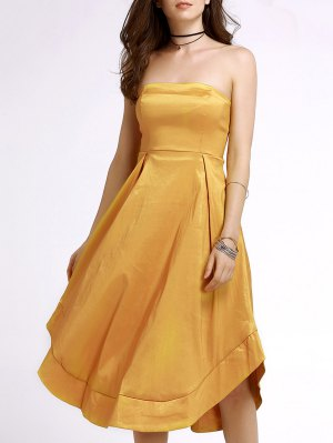 Sexy Bandeau A Line Midi Birthday Dress - Yellow