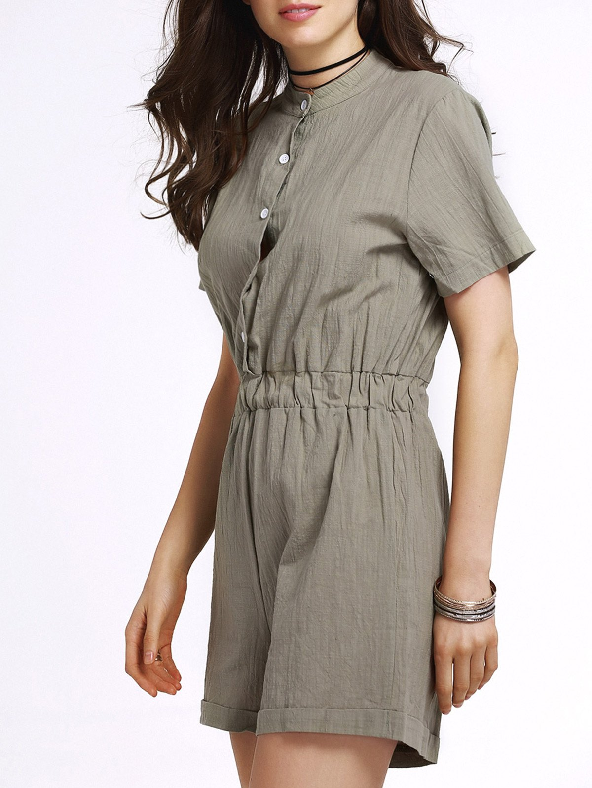 Stand Neck Short Sleeve Single-Breasted Solid Color Romper