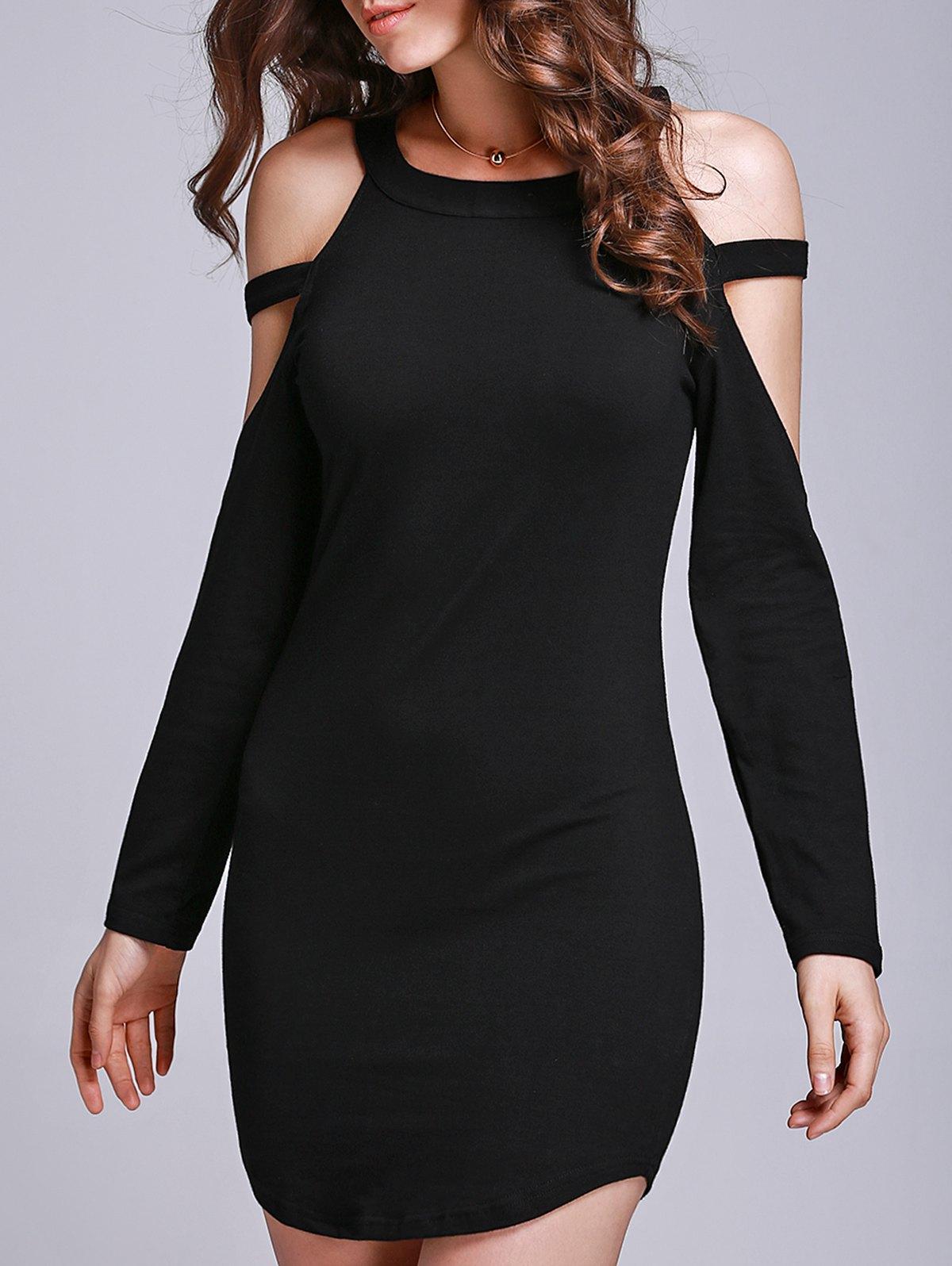 Round Collar Long Sleeve Black Hollow Dress