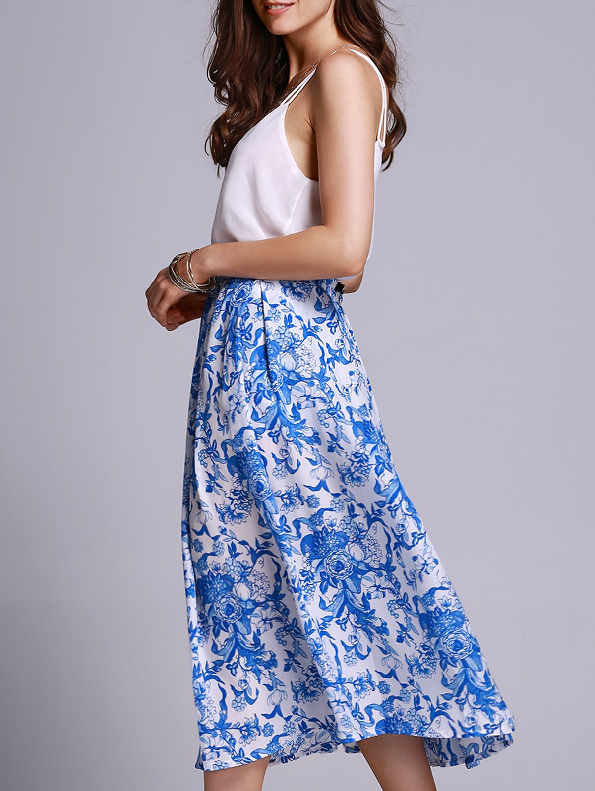 High Waisted Blue Floral Print Skirt