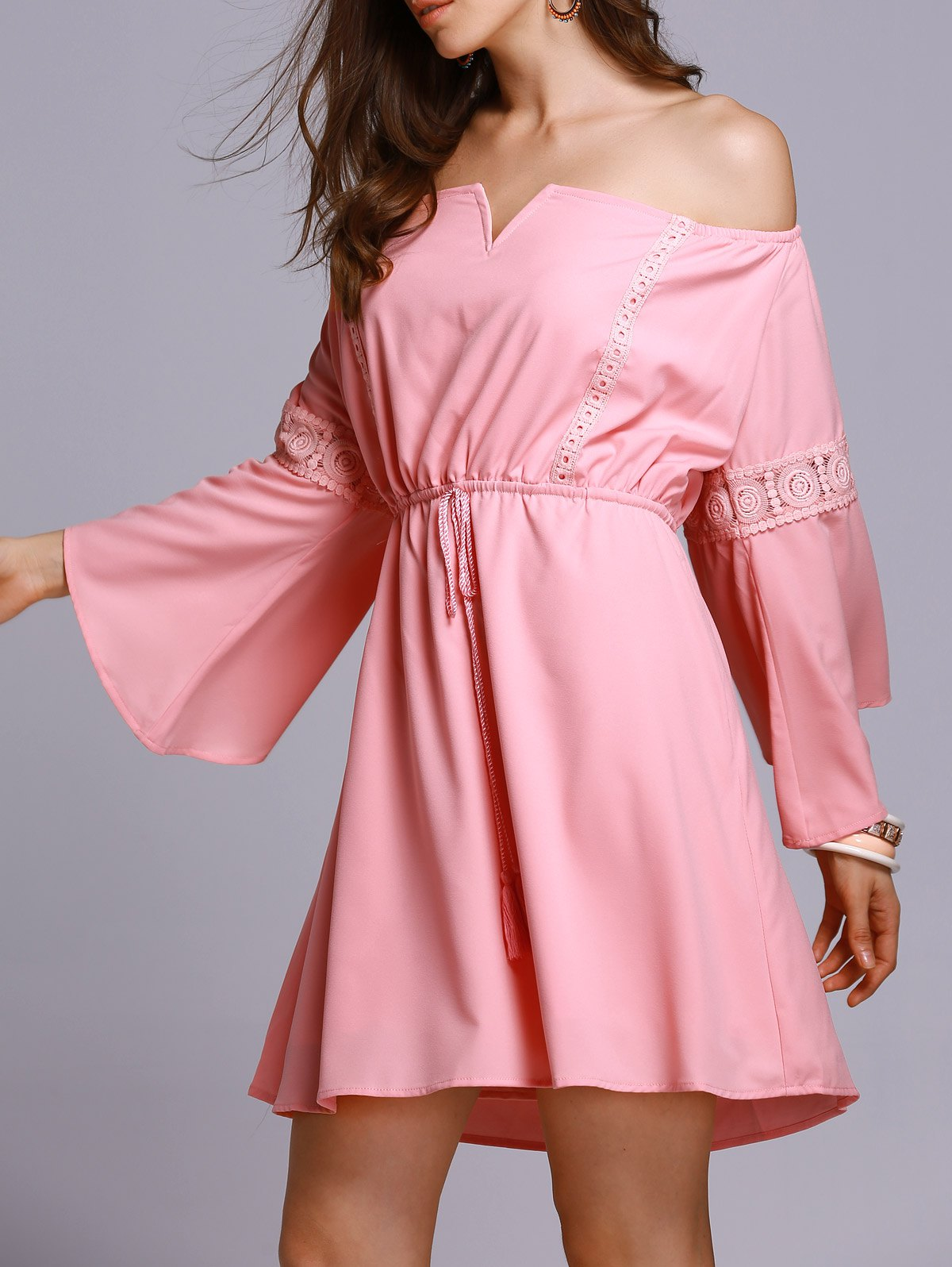 Off The Shoulder 3/4 Sleeve Pink A Line Dress