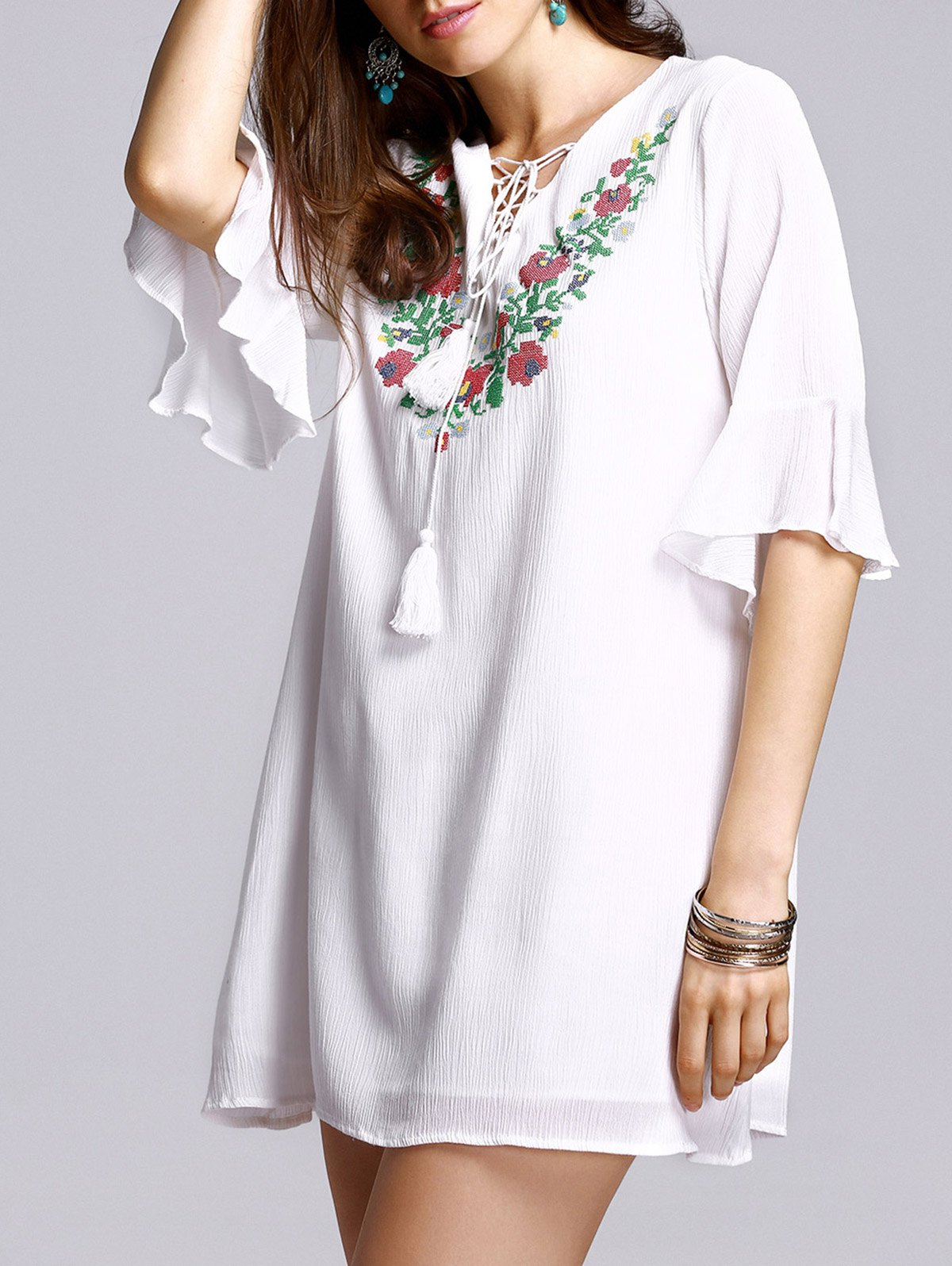 Lace-Up Embroidery V Neck Flare Sleeve Blouse