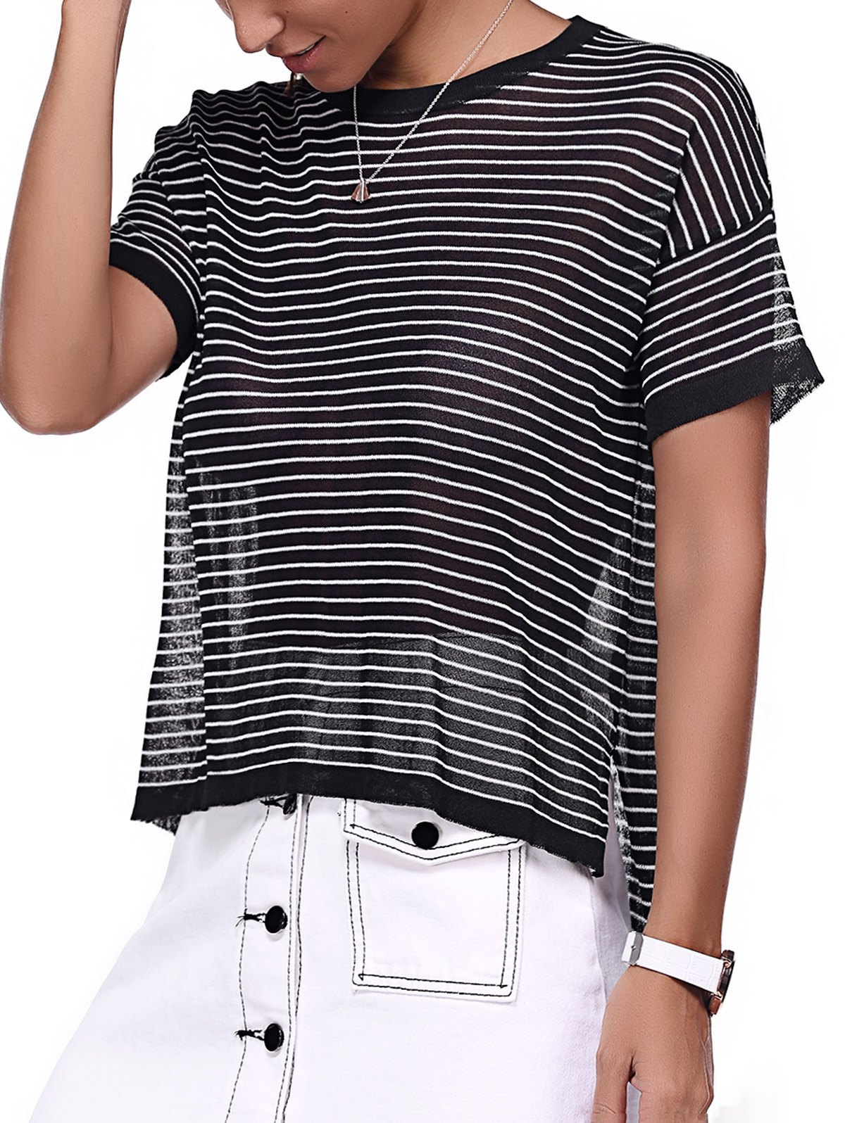 Round Neck Striped High Low Hem T-Shirt