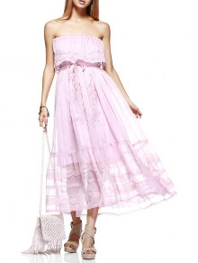 Embroidery Strapless Prom Dress - Light Pink