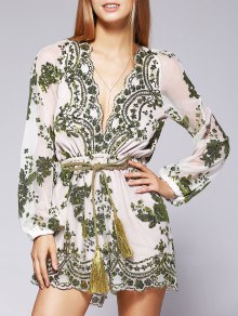 Voile Sequins Plunging Neck See-Through Romper