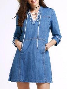 الفستان الخلفي مع الياقة الواقف بالرباط وثلاثة أرباع الأكمام - أزرق Xl