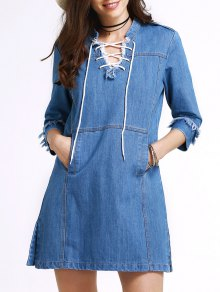 Retro Lace-Up Stand Neck 3/4 Sleeve Dress - Blue S