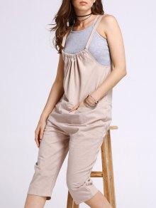 Pocket Design Loose Fit Overalls - Khaki