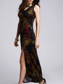 High Slit Printed Prom Dress