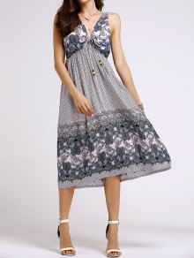Bohemian Printed Beach Round Neck Sleeveless Dress