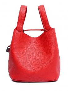 Lock Solid Color PU Leather Tote Bag