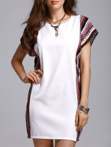 Printed Loose Round Neck Bat-Wing Sleeve Dress